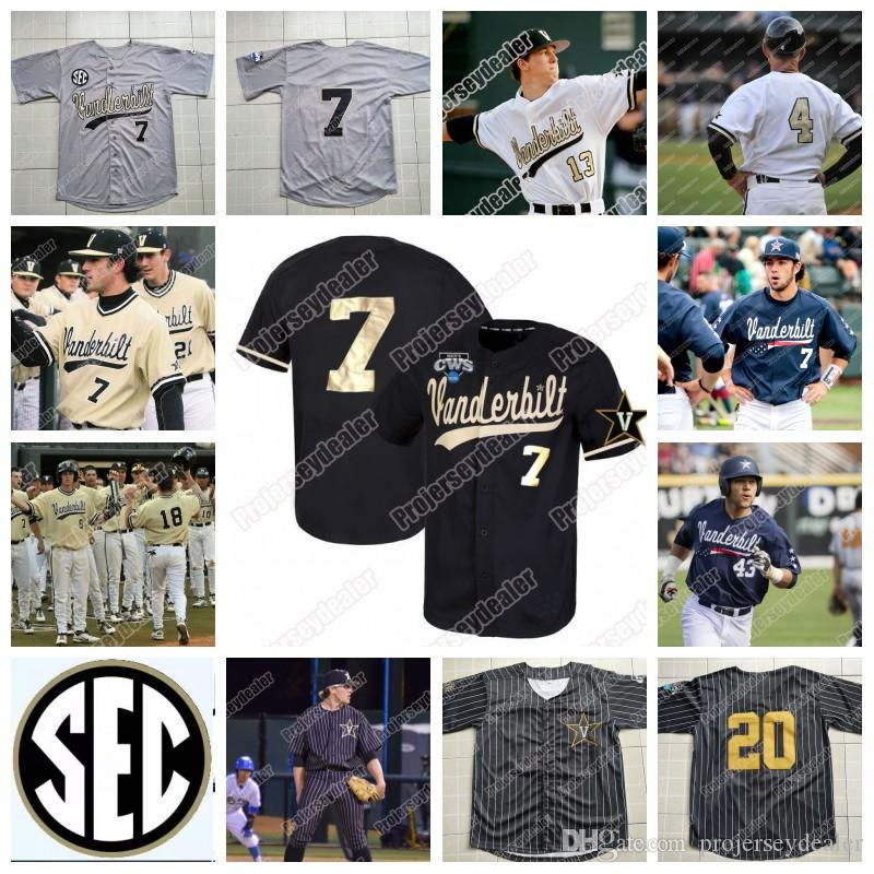 Vanderbilt Commodores CWS Gold Proglam Jersey 51 J.J Bleday 3 Cooper Davis 16 Austin Martin 7 Dansby Swanson NCAA College Baseball Jersey