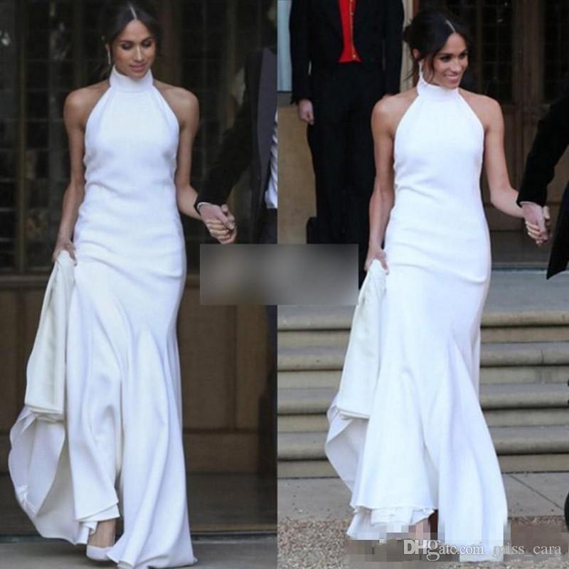 Barato vestidos de casamento de sereia branco 2019 príncipe harry meghan markle vestido nupcial halter vestido receptido de cetim macio