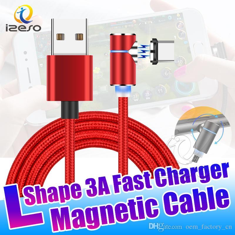 3A de synchronisation de données Chargeur rapide magnétique Câble 3FT 6FT Micro USB Type C Recharge rapide Cordon 90 Degree Design Line pour Game izeso