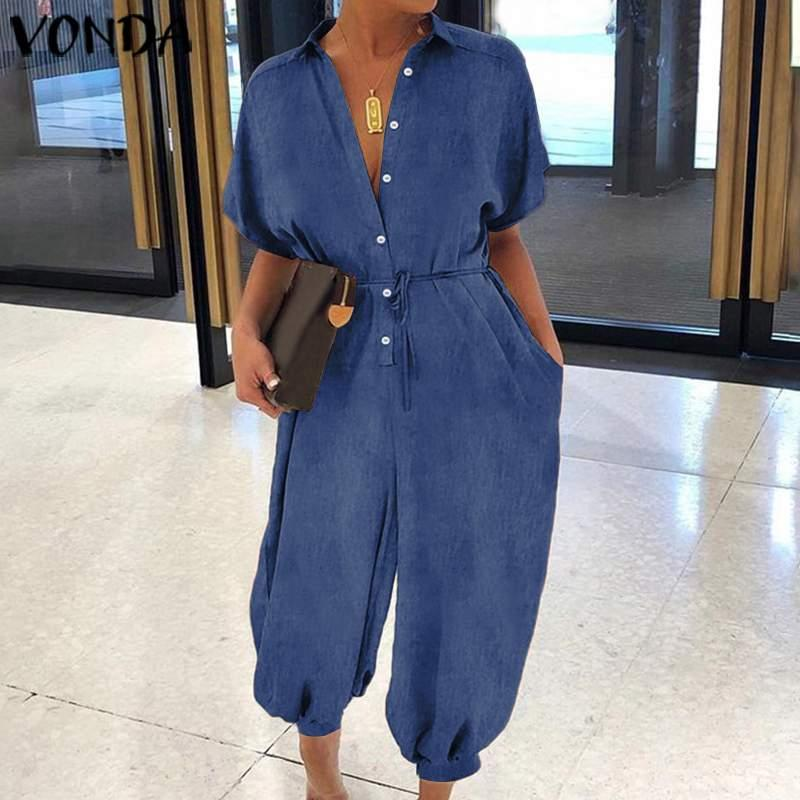 Womens Summer Jumpsuits 2020 VONDA Sexy V Neck Short Sleeve Wide Leg Pants Elegant Office Overalls S-5XL Plus Size Rompers