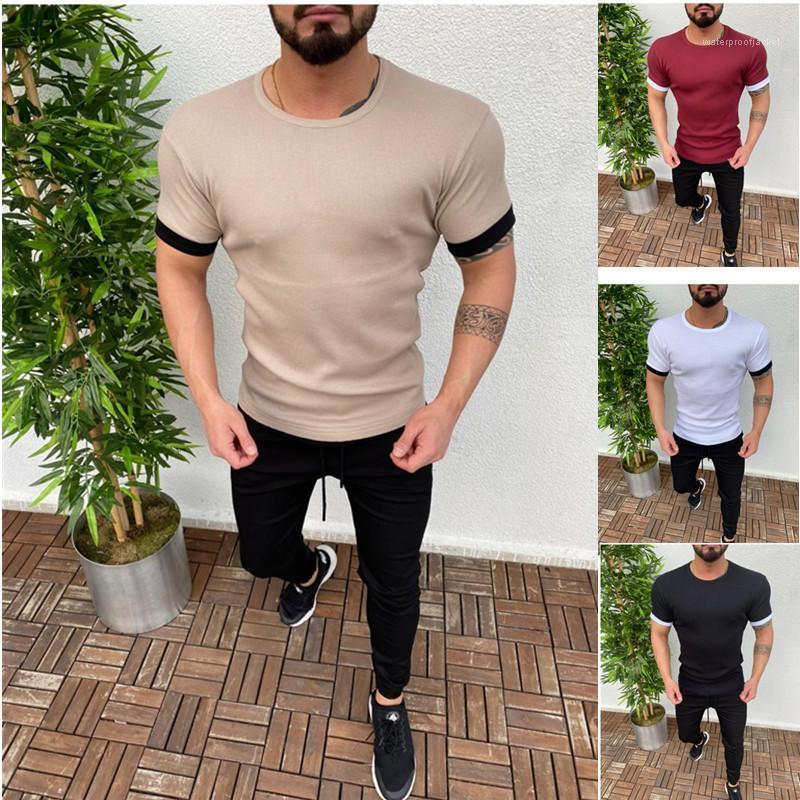 Designer-T-Shirts mit Rundhalsausschnitt Natural Color Mode-T-Shirts Herren Kleidung Sommermens-beiläufige Hemden Panelled Short Sleeve