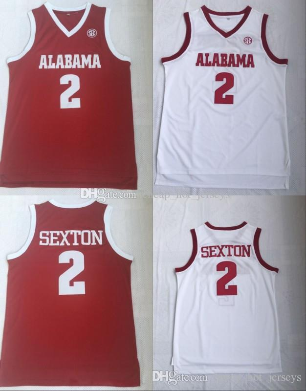 Mens NCAA Alabama Crimson Tide Collin Sexton College Basketball Trikots Nähed Weiß Rot Collin Sexton Alabama Crimson Tide Jersey S-3XL