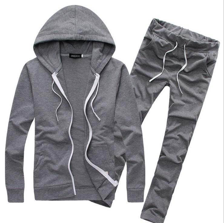 Casual Pure Color 2 Piece Set Men Tracksuits Autumn Sportswear Hooded Hoodies +Pants Mens Sporting Suits Funny