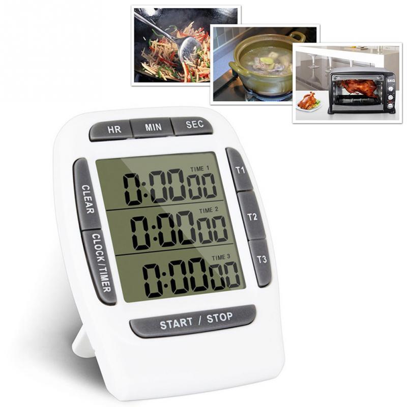 função LCD multi Digital Timer 3 exibição do canal Kitchen Timer eletrônico Relógio Despertador Contagem regressiva Triplo Temporizador Stand Back