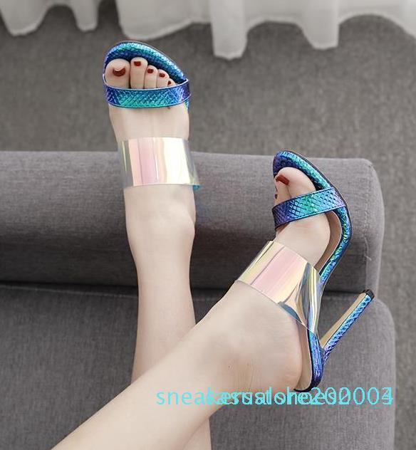 Shinny azul plata strappy tacones de aguja sandalias de lujo mujeres zapatos de diseño vienen con caja tamaño 35 a 40 s03