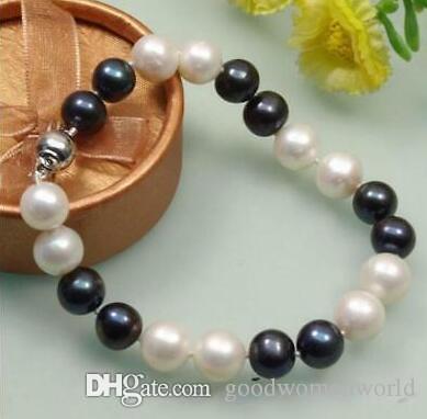 """Nuevo Real Fine Pearl Jewelry HERMOSO 7.5 """"-8"""" 9-10 MM SOUTH SEA BLANCO PERLA NEGRA 14K CLASP"""