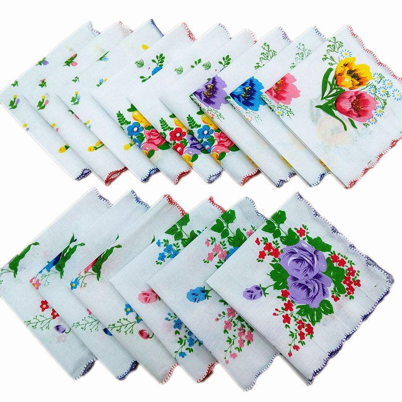 Assorties dames coton hanky fleur vintage mouchoir floral hankies femmes tissu oaqul