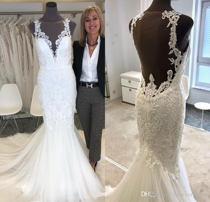 2019 Full Lace Appliques Wedding Dresses Sheer Jewel Neck Spaghetti Backless Bridal Gowns Tulle Sweep Train A Line Dresses