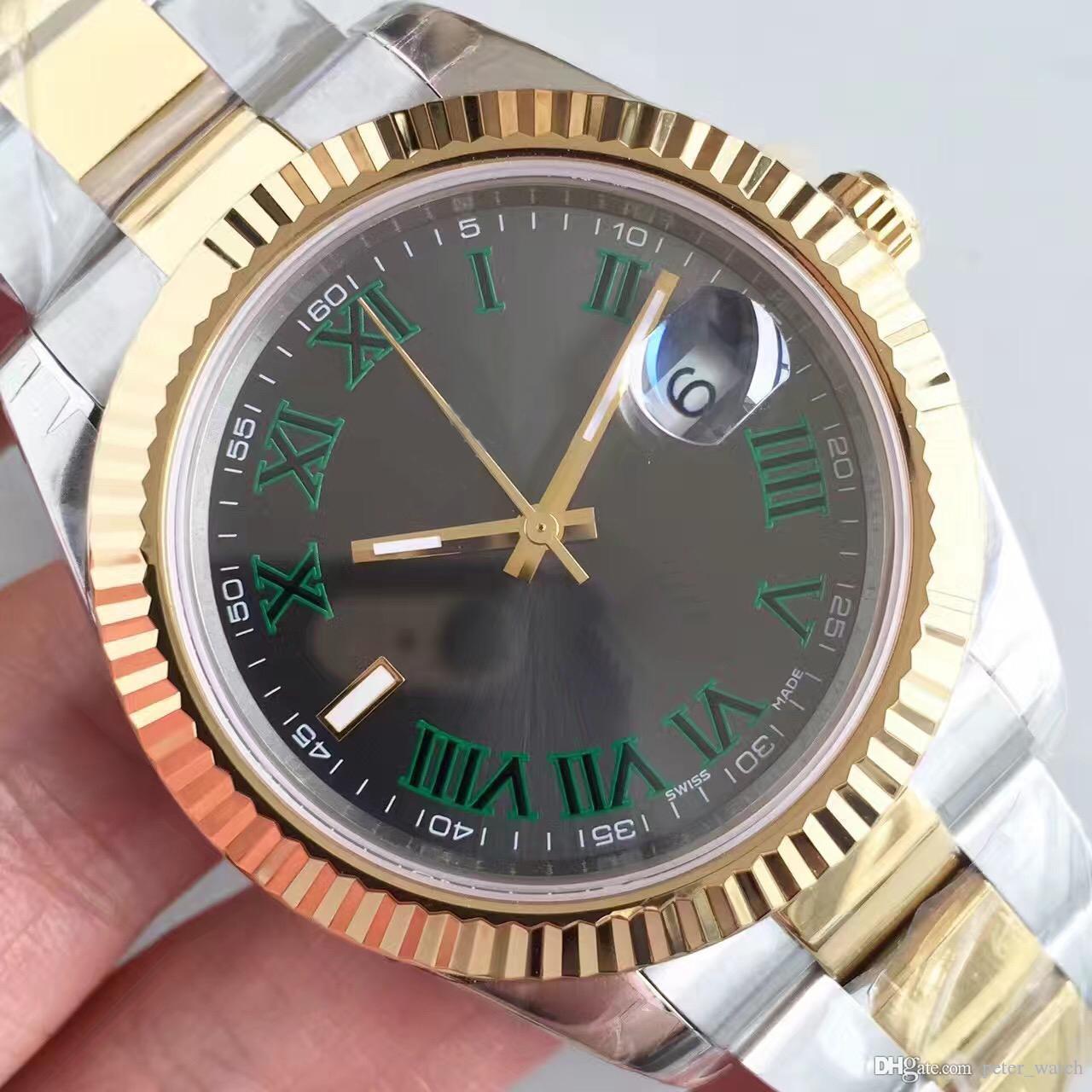 العلامة التجارية الأعلى التلقائي 2813 ساعات ميكانيكية الرجال datejust 41 ملليمتر الفولاذ المقاوم للصدأ الياقوت الزجاج الصلبة المشبك الرئيس رجل رمادي ساعة اليد ذكر