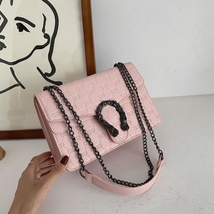 Factory wholesale women handbag stylish embossed leather chain bag buckle women slung shoulder bag street fashion leather women bag