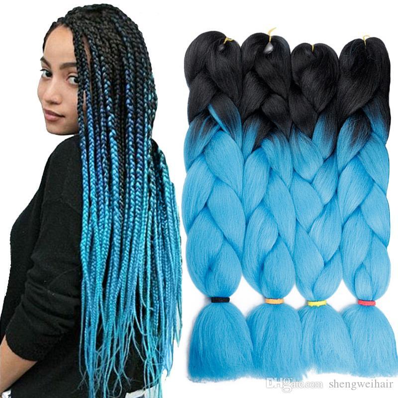Hot Sale Ombre Synthetic Braiding Hair Crochet Braids Senegalest Twist Hair Extensions Beauty Color Kanekalon Braiding Hair Jumbo Braids
