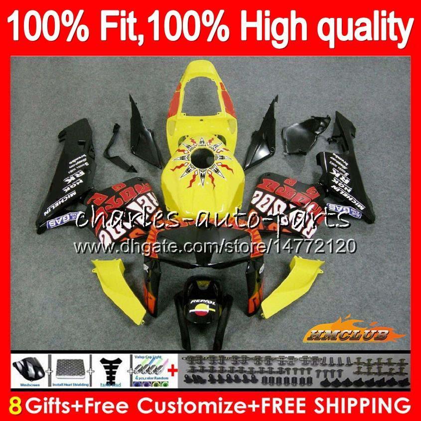 molde de inyección Repsol amarilla para HONDA CBR600RR CBR600 RR 2005 2006 80HC.38 CBR600F5 CBR 600RR 600F5 05 06 CBR 600 RR F5 05 06 carenado OEM