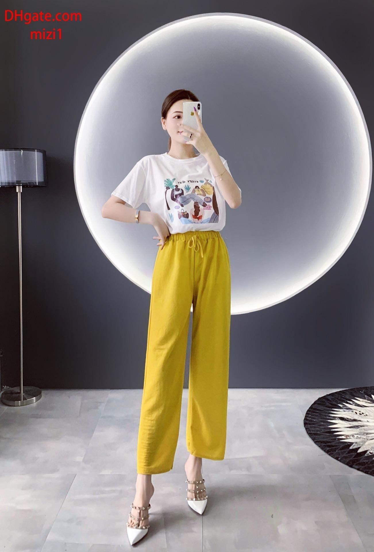 2019 yaz giysileri kadın iki parçalı kıyafetler kadın Eşofman baskı kısa kollu T-shirt + Sarı yüksek bel geniş bacak pantolon kadın giyim v-l