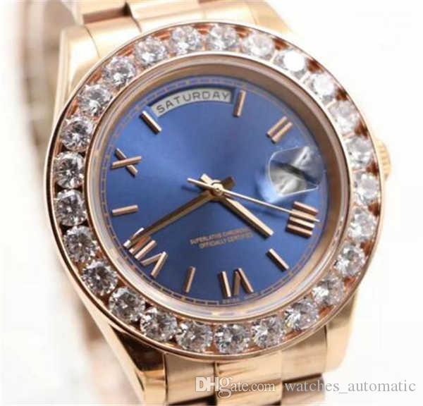 Pearl A 2019 Lüks Saatler Marka Altın Başkanı Day-Date Diamonds İzle Erkekler Paslanmaz Anne Elmas Bezel Otomatik kol saati Dial
