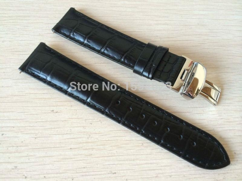 19mm (buckle18mm) Prc200 T17 T41 T461 High Quality Silver Butterfly Buckle + Black Genuine Leather Watch Bands Strap Y19052301