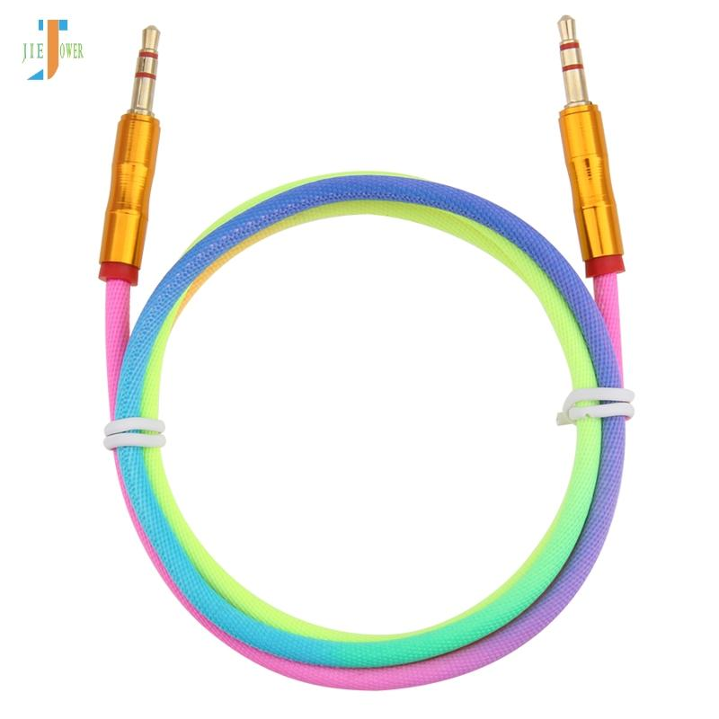 500pcs/lot 3.5 mm Jack Audio Cable Rainbow Bamboo Copper Shell Male to Male Stereo Auxiliary Cord for Samsung Car MP3 MP4 AUX Cable