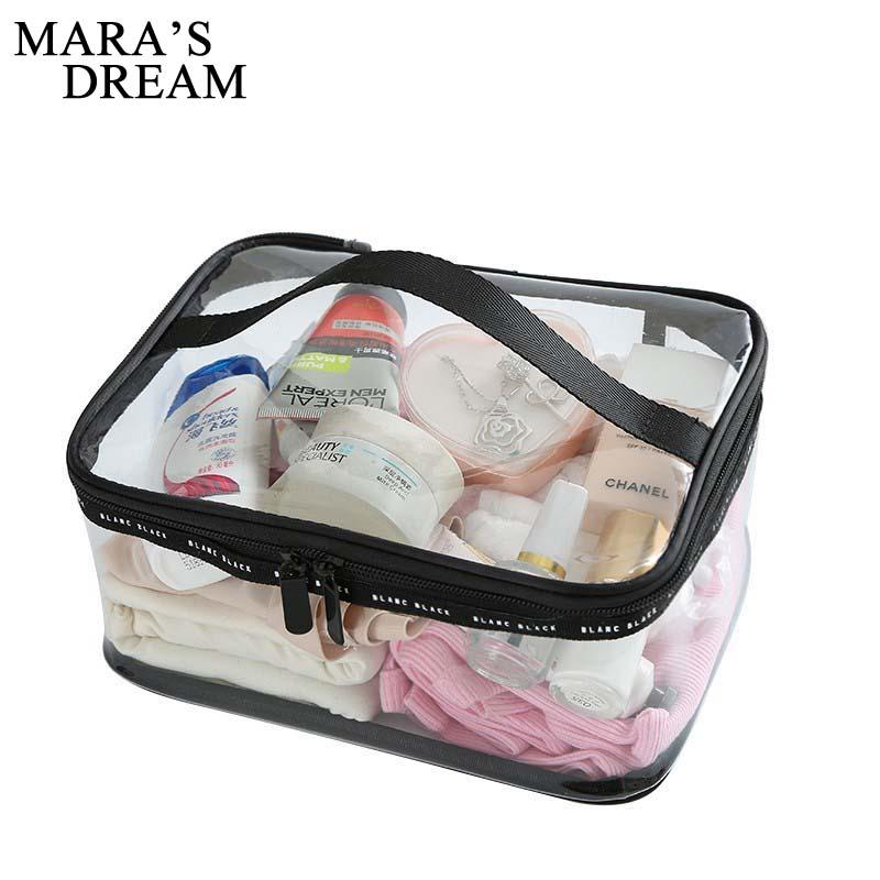 Impermeable transparente de PVC Bolsa cosmética Las mujeres representan el estuche de viaje Claro maquillaje de belleza Storage Kit de lavado Organizador del baño Tocador