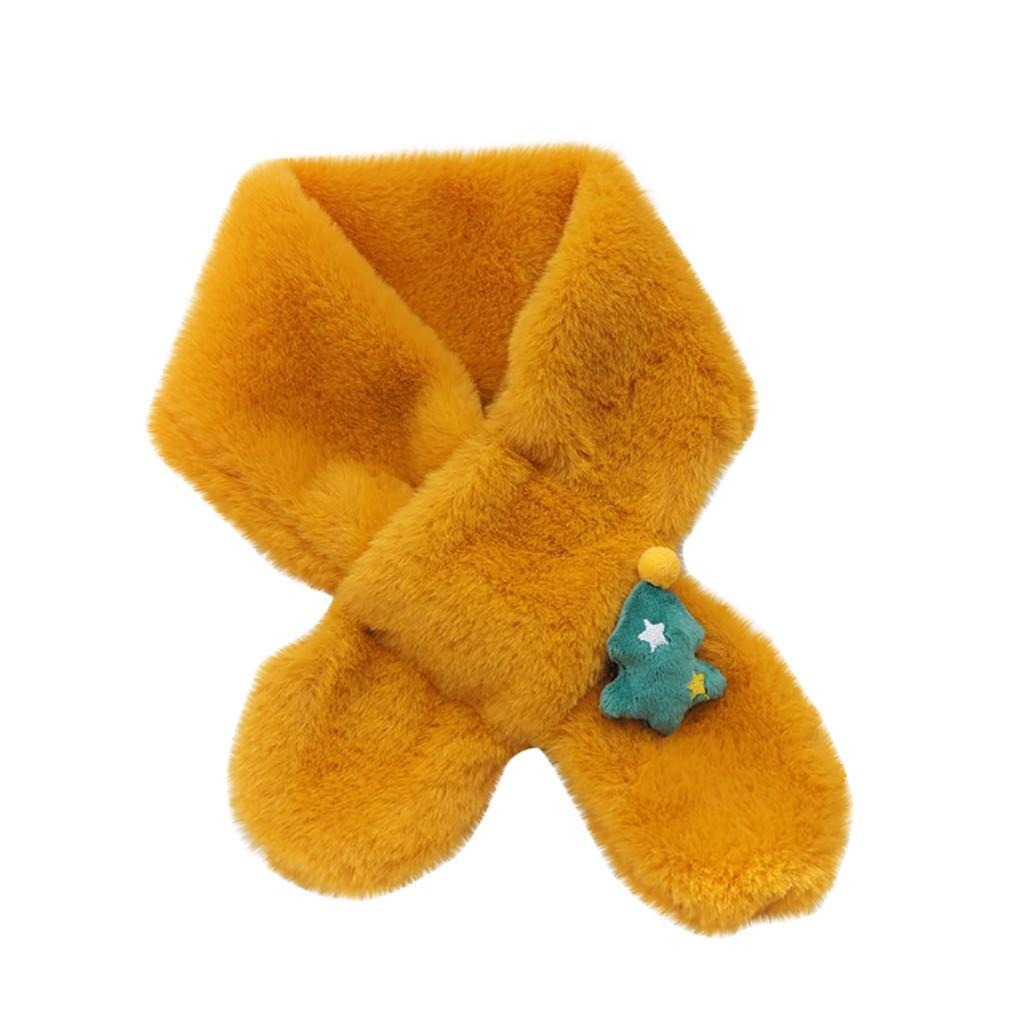 peludo cor sólida dos desenhos animados Series Crianças Lenços de Natal morno Bib lenço do inverno imitação coelho Wraps Cabelo foulard femme # Y2