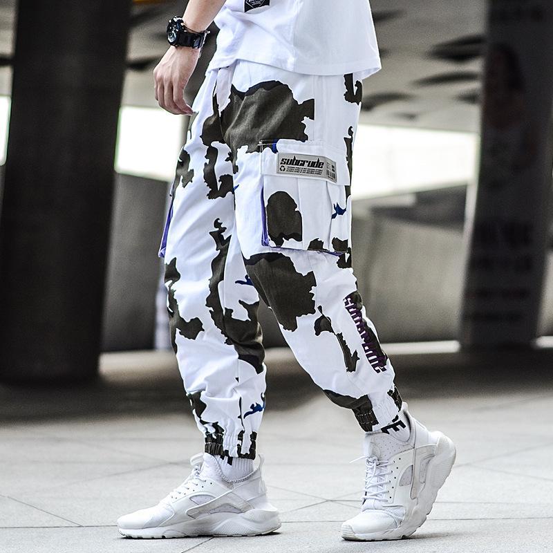 Homem Jogger Camuflagem Bolsos Laterais Solto Estilo Homens Sweatpants Moda 2019 Calças Casual High Street