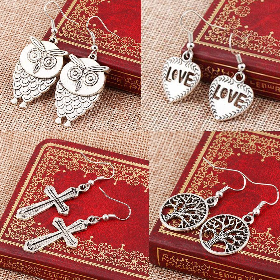 Mixed bohemian earrings handmade tortoise owl cross tree charms earrings statement bohemian silver colors cute animal dangles bulk price