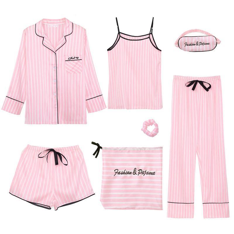 NEWDISCVRY «s 7 шт Пижама Комплекты эмуляция Шелковая Полосатая Пижама Женщина пижамы наборы Весна Лето Осень Homewear