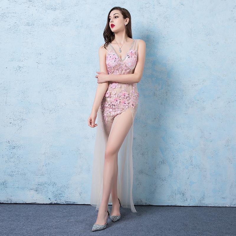 Sexy Perspective V-образным вырезом вечернее платье аппликация Русалка Платья Ночной костюм Вечернее платье Long High Split Хост Pink