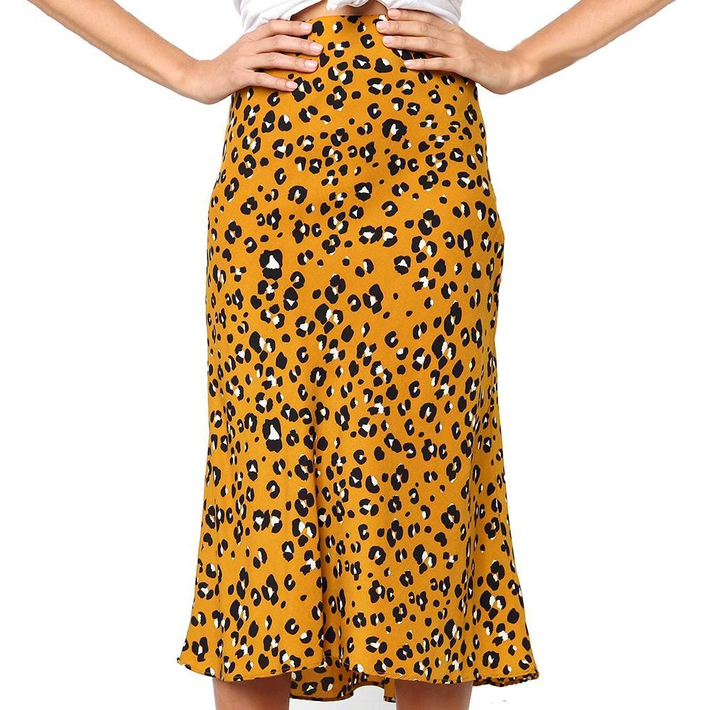 Les femmes imprimé léopard Vintage Femmes Long Casual taille haute Jupe plissée Jupes Femmes Faldas été mi-longueur Jupe Spodnica