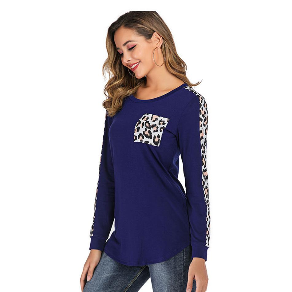 Forma-leopardo dos retalhos T-shirt do bolso de outono mangas compridas pullover Casual o-pescoço Tops Roupa O pescoço shirts OT LJJA3147