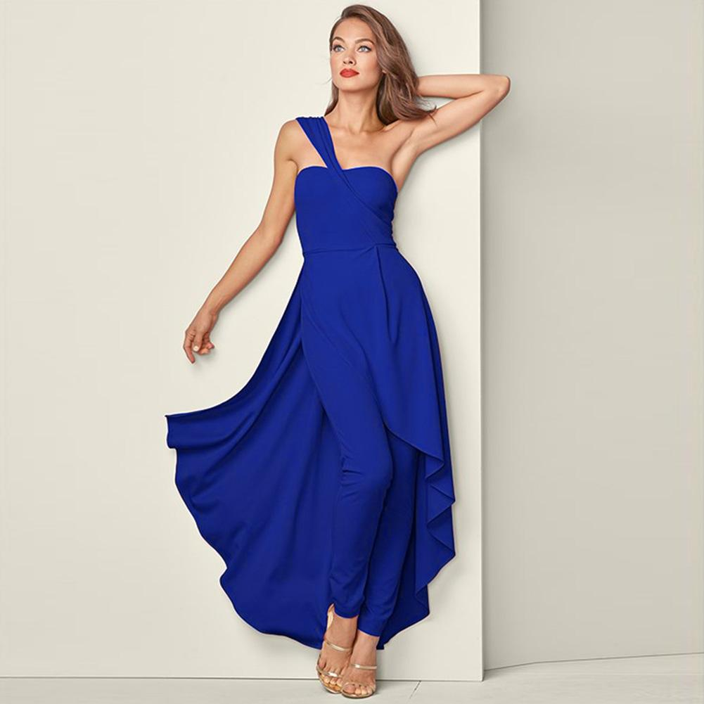 Spring Jumpsuit Sleeveless Women Dress Polyester Fashion Wedding Slanted Shoulder Large Swing Solid Dinner Holiday Unique Casual