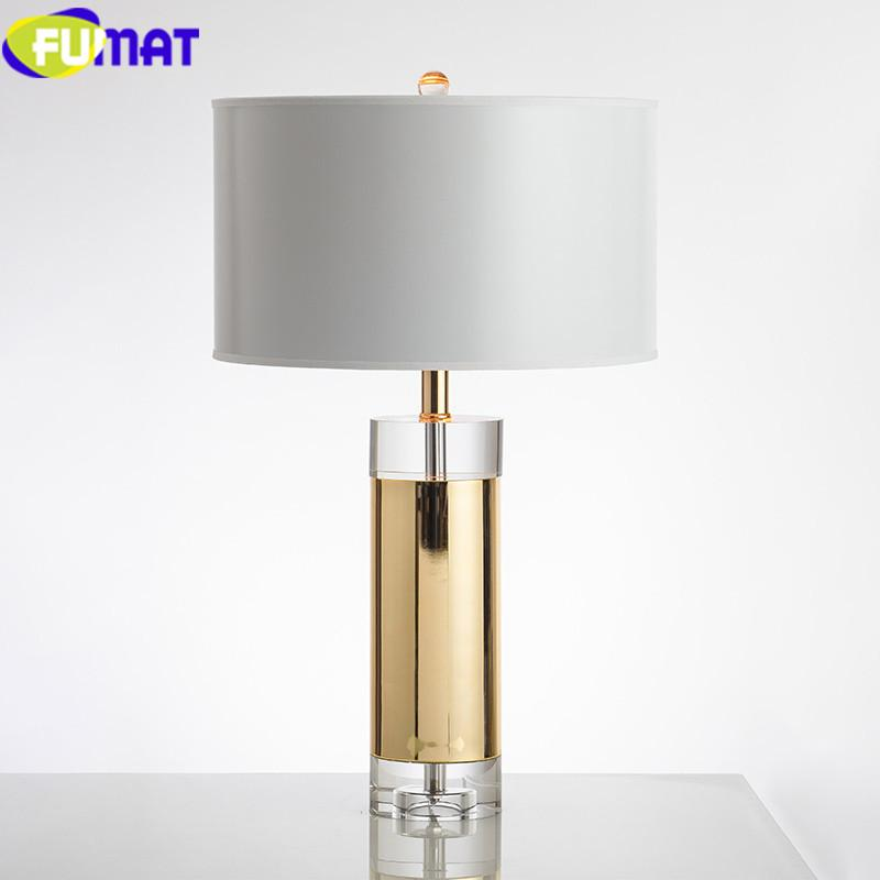 FUMAT Table Lamp Modern Crystal decoration bedroom bedside lamp home deco marriage Fabric shade luminaria table Lamps Desk light