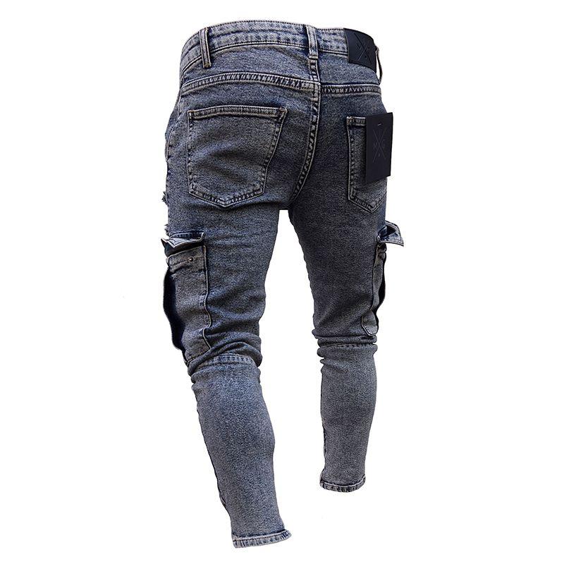 Compre Ropa De Trabajo Para Hombre Vaqueros Pitillo Para Hombres Pantalones Ajustados Con Cremallera Cargo Pantalones De Mezclilla Pantalones Rotos Moda A 14 8 Del Helinjun0428 Dhgate Com