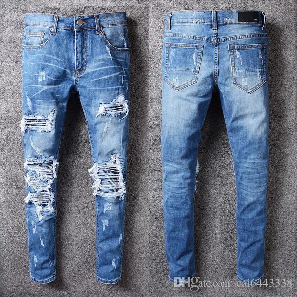 Calças de brim dos homens da moda Pista de Corrida Magro Racer Biker Jeans # 1132 Hiphop Skinny Men Denim Ripped Basculadores Calças Masculino Rugas Jean Calças