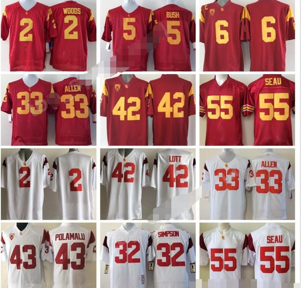 Men Football 5 Reggie Bush Jersey USC Trojans College 42 Ronnie Lott 2 Robert Woods 6 Mark Sanchez 55 Junior Seau Marcus Allen