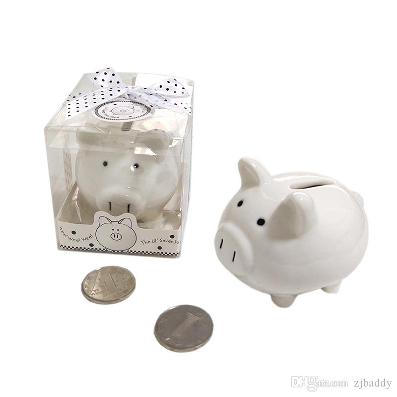 Ywbeyond Baby shower favors Ceramic Mini Piggy Bank in Gift Box with Polka-Dot Bow Wedding Favors and gifts 10pcs Wholesale