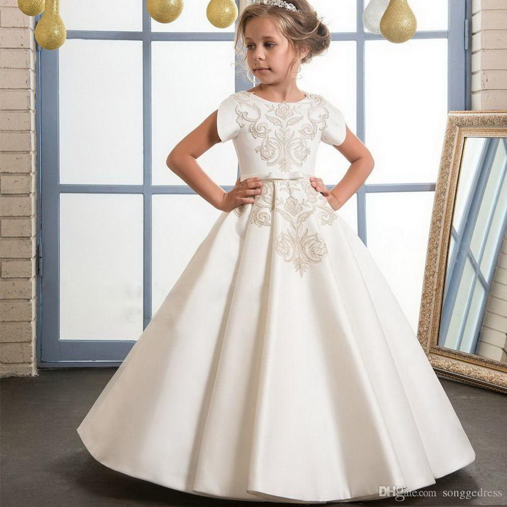 Real Picture Ivory Satin Flower Girl Dress with Appliques and Bow High Quality Ball Gown For First Communion Birthday Customized