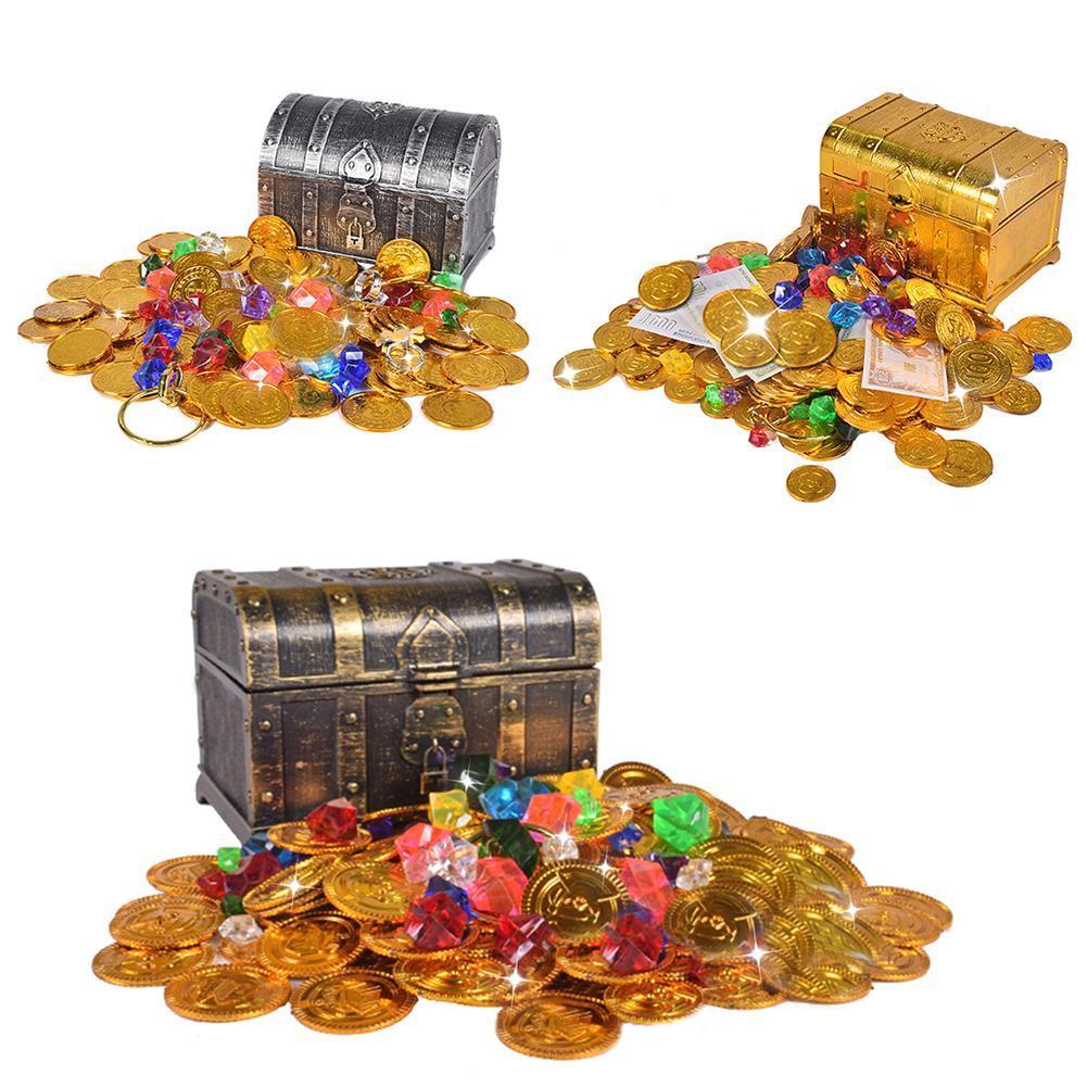 Дети Treasure Hunting Box пиратские монеты Treasure Box Electroplated Ретро Пластиковые Box Игрушка Золотые монеты и Pirate Gems ювелирные изделия