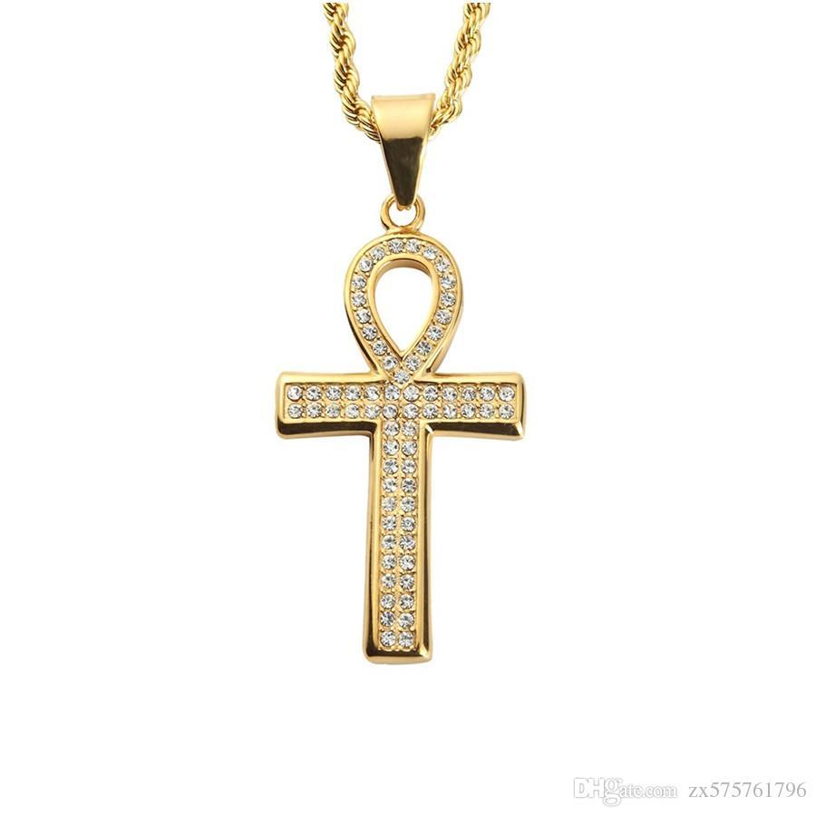 Joyas de moda Hip Hop clave Colgantes Collares Para Hombres Boy Rhinestone lleno del diseño popular del collar de cadena larga de 60 cm
