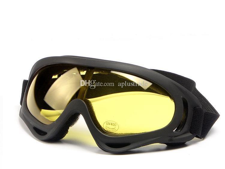X400 UV Taktik Bisiklet Gözlükler Kayak Kayak Paten Gözlük Güneş gözlüğü Windproof toz geçirmez elastik kayış Bisiklet Gözlük