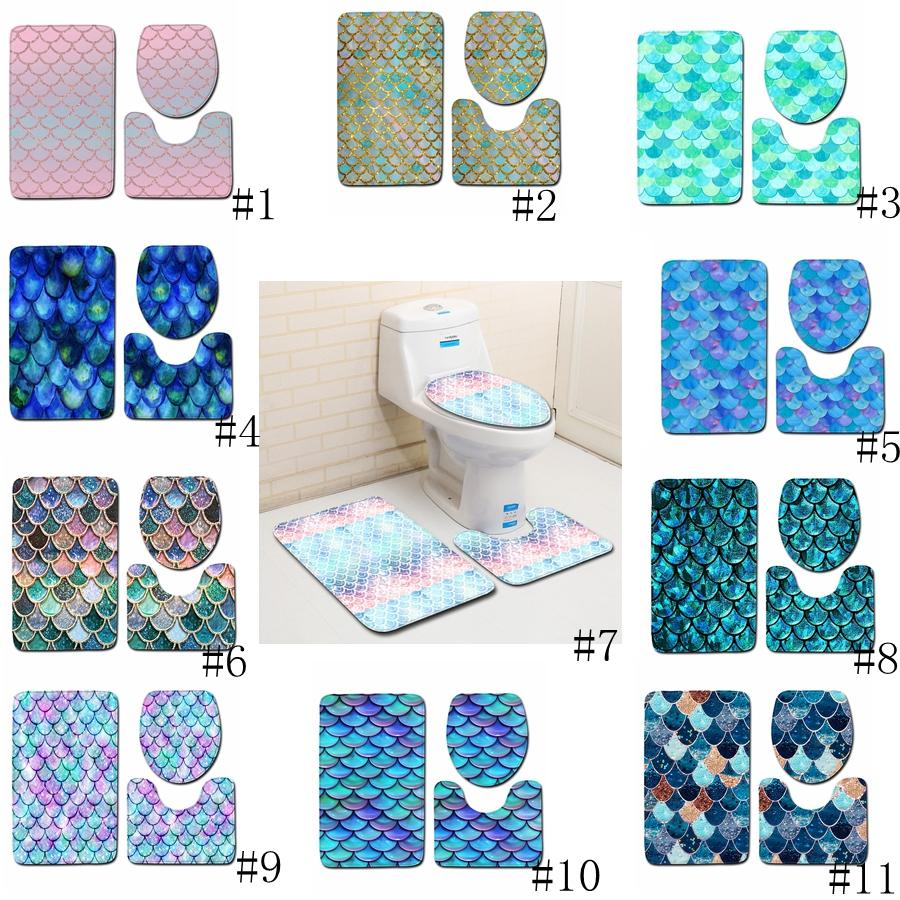 Fish Scale Printed Bath Mats 3pcs/set Anti-slip Bathroom Floor Mats Toilet Cover Rug Bathroom Carpets Mat 11 styles GGA2232