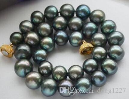 Frete Grátis nobre jóias impressionante 11-12mm de água doce colar de pérolas de pavão verde