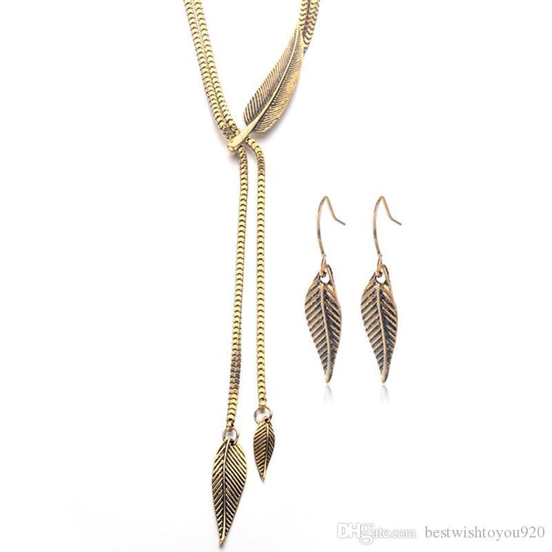 Vintage Women Long Chain Leaf Pendant Necklace Hook Drop Earrings Jewelry Set new