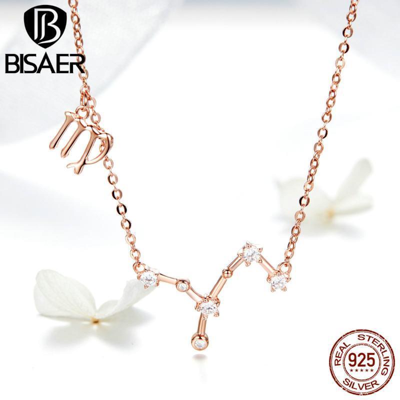 BISAER горячие продажи стерлингового серебра 925 пробы Дева двенадцать созвездий кулон ожерелья розовое золото Дева ожерелье ювелирные изделия EFN020