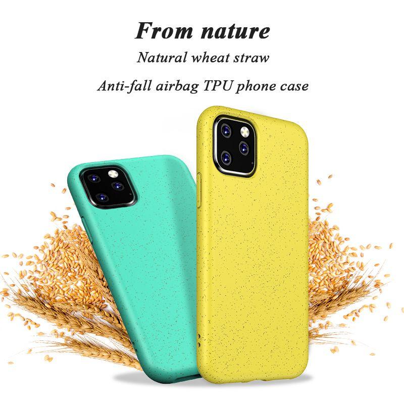 Paja de trigo caja del teléfono del Medio Ambiente de reciclaje ecológico de la cubierta de TPU para el iPhone 11 Pro Max XS XR X 8 Plus de Samsung Nota 10 Plus S10