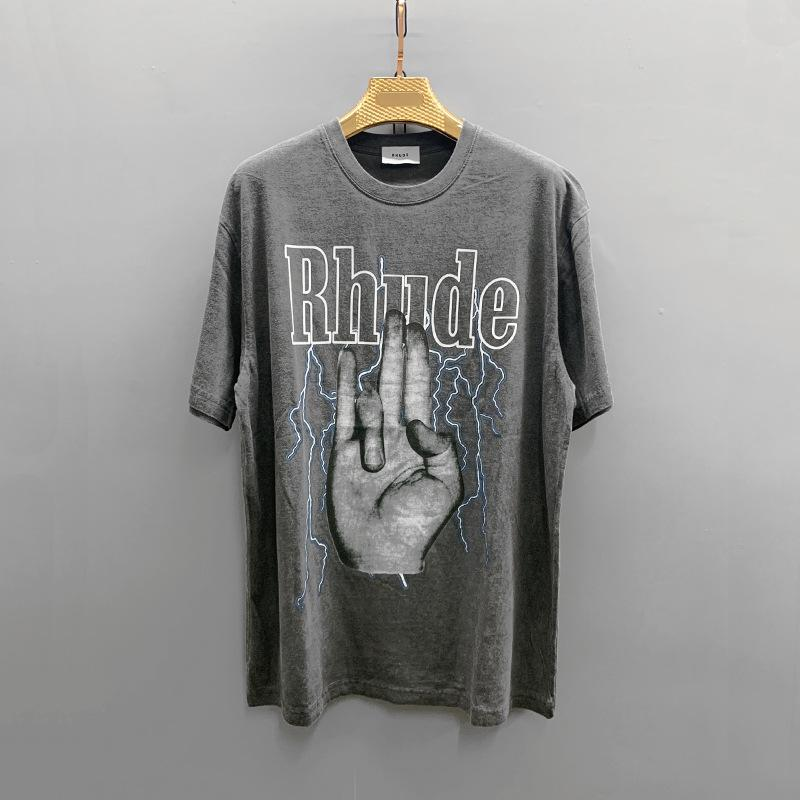 Tasarımcı Marka Moda Avrupa ve Amerika Gelgit Marka Kısa Kollu T-shirt Rhude Lotus İşletim Sistemi Gevşek Rahat Kısa Kollu T-shirt Gelgit