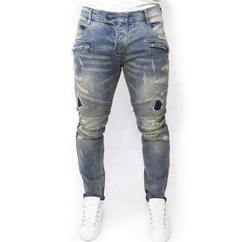 M - 7XL Hommes Designer Jeans Mode Trou Cassé Washed Moto Denim Pantalon Street Style Crayon Jeans Skinny Éraflure
