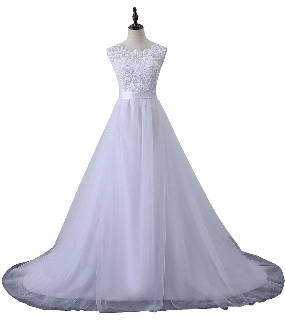2020 Nouvelle Bohème Dentelle Robes de mariage Appliques Plus Size manches A-ligne Tulle Robes de mariée Robe de mariée