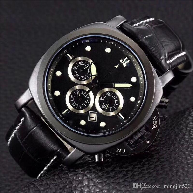 Swiss Wristwatch Luxury Mens Watches Créateur de mode en cuir Montre de sport Montre militaire célèbre marque Horloge pour homme Tous les cadrans fonctionnent Montre de luxe