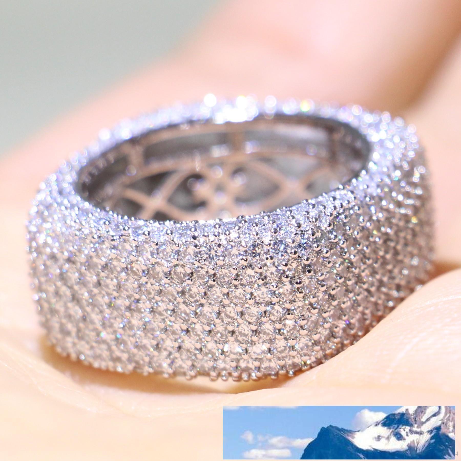 الحجم 5-10 مجوهرات 925 الفضة الاسترليني التعبئة تمهيد ميركو كاملة الأبيض الياقوت CZ الماس وعد خاتم الزواج المرأة حزام حزام لعشاق