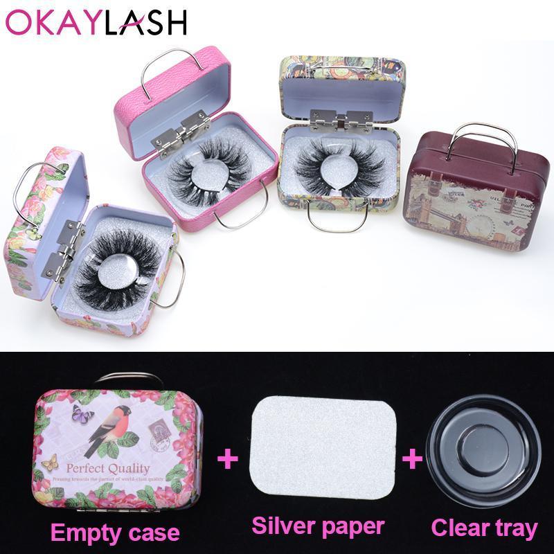 OKAYLASH 6case / lot Mini Stahl Qualitäts-25mm lange Wimpern Box Verpackung Attraktive Lashes Koffer Großhandel Fabrik-Preis
