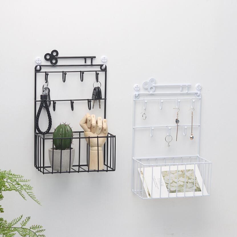 2019 New Keys Shelf Storage Basket Metal Key Hook Iron Decorative Wall Hanging Earring Ring Jewelry Hooks Home Decor Rack GY052 T200319